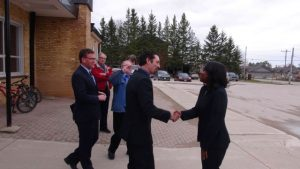 Grey Highlands Mayor Paul McQueen Welcomes Education Minister Mitzie Hunter to Markdale (Kirk Scott photo)