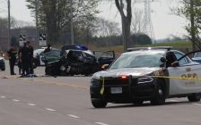 Crash on Hwy. 3 between Walker Rd. and Sexton Side Rd. in Tecumseh, April 26, 2017. (Photo by Mike Vlasveld)