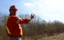 Hydro One Forestry Superintendent Jake Zink explains why trees need to be cut near power lines in LaSalle, April 17, 2016. (Photo by Mike Vlasveld)