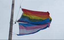 The pride and transgender flags flying at the Thames Valley District School Board office on Dundas St., April 19. 2017. (Photo by Miranda Chant, Blackburn News.)