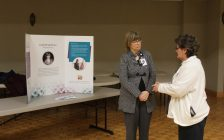 Vera Brown (right) speaking with CEO Lori Marshall (left) at the CKHA community engagement session in Blenheim. April 4, 2017. (Photo by Natalia Vega)