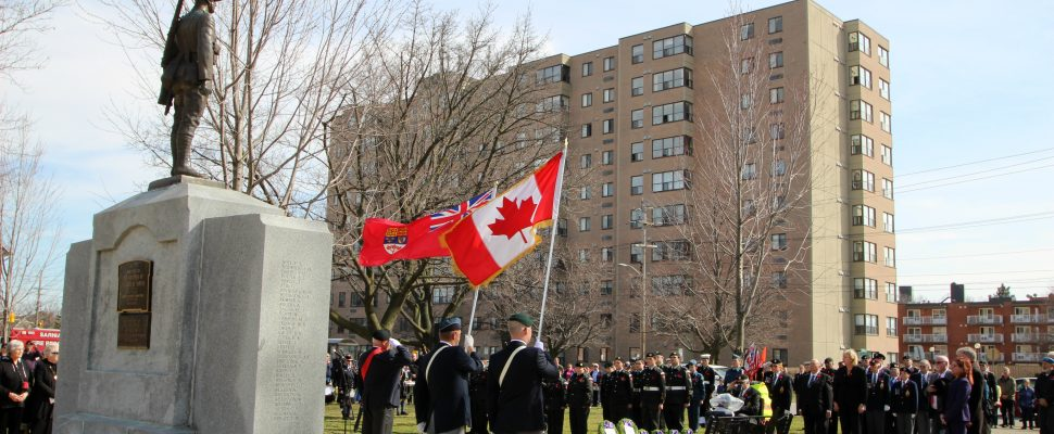 The 100th anniversary of the battle of Vimy Ridge is observed in Sarnia Apr. 2, 2017 (Photo by Dave Dentinger)