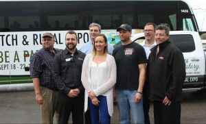 Co-chairs and major sponsors of the International Plowing Match and Rural Expo 2018 were on hand for the unveiling of the event's official vehicles Wednesday April 19, 2017. (Photo by Natalia Vega)