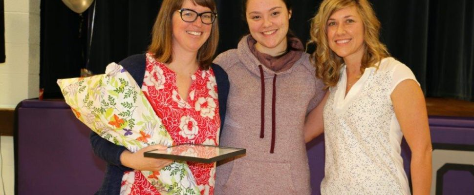 PHE School Champion Award. Photo from left to right: Aimee Vereecke, OSDSS Teacher Award Recipient; Hanna Merner, OSDSS Student; Lisa Prowd, GBHU Public Health Nurse