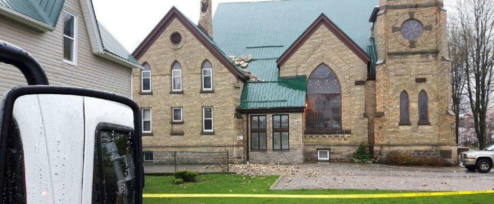Petrolia Baptist Church damaged by lightning April 20,17 (photo submitted by Lawrence Swift)