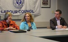 Marg Holman and Victoria Paraschak professors from the University of Windsor to take part in forum hosted by the Windsor District Labour Council, April 26, 2017. (Photo by Maureen Revait) Marg Holman and Victoria Paraschak professors from the University of Windsor to take part in forum hosted by the Windsor District Labour Council, April 26, 2017. (Photo by Maureen Revait)