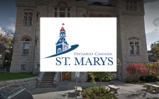 St. Marys town hall with logo