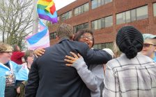 Students and school board officials celebrate the raising of the pride and transgender flags at the Thames Valley District School Board office on Dundas St., April 19, 2017. (Photo by Miranda Chant, Blackburn News.)