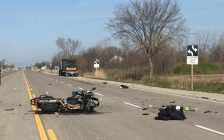 Photo of a motorcycle crash on Hwy. 3 April 18, 2017 courtesy of the Ontario Provincial Police.