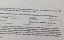 Photo of the Parole Board of Canada decision to grant day parole to Carl Leone. (Photo by Adelle Loiselle)