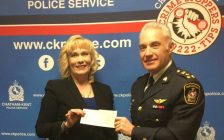 CKPS gives CK Victim Services a $45,000 cheque. (Photo by Paul Pedro)