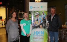 Organizers, including Canadian Mental Health Association spokesperson Angela Kirkland in the middle, gather for the launch of the 2017 Ride Don't Hide. April 10, 2017 BlackburnNews.com photo by Meghan Bond