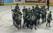 The London Knights celebrate after beating the Windsor Spitfires in Game 7, April 4, 2017. (Photo courtesy of Steve Stax)
