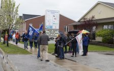 Local unions rally to support striking workers at the Canadian Hearing Society on East St. May