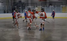 The Pacers celebrate a goal in a 19-9 victory over Welland (Photo by Jake Jeffrey