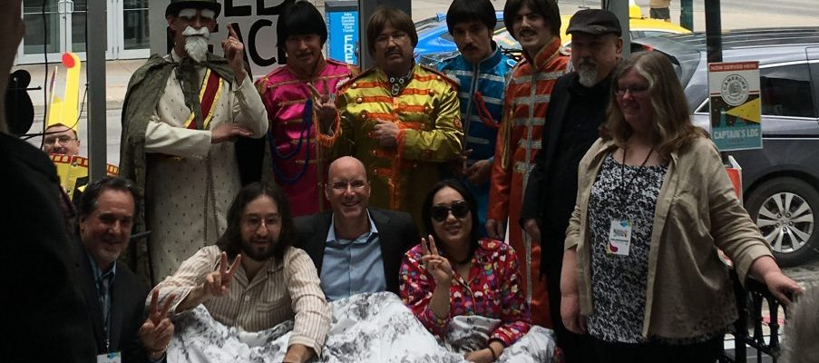 Mayor Matt Brown poses with organizers of the London Beatles Festival and Beatles impersonators. May 16, 2017. Photo by Becky Malacaria.