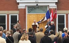 Deputy Premier Deb Matthews addresses the crowd at the unveiling of the renovated Blyth Memorial Hall. May 19th, 2017 (Photo by Ryan Drury)