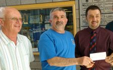 From left, Kingsville deputy mayor Gord Queen, Ted Rocheleau, grand knight of the Kingsville Knights of Columbus and Kingsville Mayor Nelson Santos at a cheque presentation at Kingsville Recreational Complex, May 18, 2017.  Photo by Mark Brown/Blackburn News.
