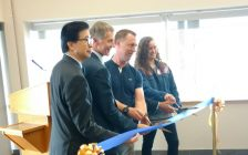 From left, UW vice-president of research and innovation Michael Siu, UW president Alan Wildeman, UW biology professor Dr. Trevor Pitcher and UW student Marlena McCabe cut the ribbon opening the Freshwater Restoration Ecology Centre in LaSalle on May 24, 2017 (Photo by Mark Brown/Blackburn News)