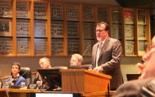 Entegrus Powerlines CEO Jim Hogan presenting merger proposal with St Thomas Energy at Chatham-Kent council meeting in the civic centre. May 29, 2017. (Photo courtesy of Sarah Cowan Blackburn News Chatham-Kent)