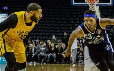 Royce White of the London Lightning (left) defends Billy White of the Halifax Hurricanes during the Lightning's 105-97 win in Game 1 of the NBLC Finals at Budweiser Gardens in London (Photo courtesy London Lightning/NBL Canada)