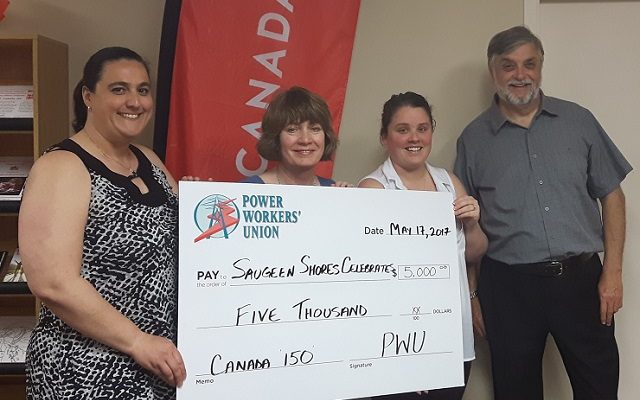 (Left to right) Heather Lorenz, Administrative Coordinator for Saugeen Shores Celebrates Canada's 150th Committee;  Linda Crombeen, Power Workers' Union;  Megan Jackson, Saugeen Shores Chamber of Commerce;  and Neil Menage, Vice Chair of the Saugeen Shores Celebrates Canada 150th Committee. (photo sumitted)