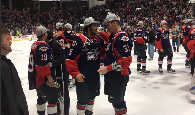 The Windsor Spitfires celebrate after winning the 2017 Memorial Cup. (Photo courtesy of Chris McLeod)
