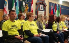 Supporters wearing 'Save Grey Gables' shirts attended the May 11th County council meeting, where the decision was deferred to May 25th. (Kirk Scott photo)