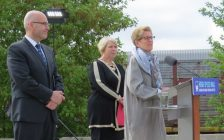 Premier Kathleen Wynne, Deputy Premier Deb Matthews, and Transportation Minister Steven Del Duca announcing next steps in high speed rail system. May 19, 2017. Photo by Scott Kitching, Blackburn News.
