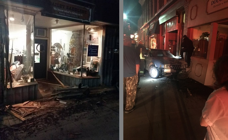 Driver Missing After Storefront Crash