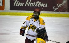 Justin McCombs At Sarnia Sting Orientation Camp - Apr 22/17 (Photo By Dave Dentinger)