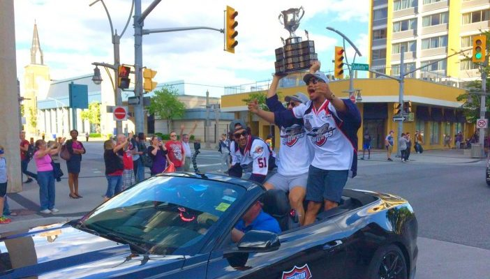 The Windsor Spitfires were greeted by hundreds of fans during the team's Mastercard Memorial Cup championship parade, May 31, 2017. (Photo by Mike Vlasveld)