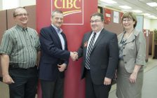 From left to right: Jerome Quenneville, Vice President and Chief Financial Officer, Rob Devitt, Hospital Supervisor, Don Fuoco, Manager, Canadian Imperial Bank of Commerce (CIBC) and Lori Marshall, President and CEO pictured at CIBC, 99 King St. W., Chatham, Ontario on May 17, 2017. (Photo courtesy of the Chatham-Kent Health Alliance)