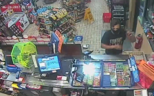 Surveillance images of one of two suspects wanted in connect to an armed robbery at the Mac's convenience store in Mount Brydges, June 21, 2017. Photo courtesy of Strathroy-Caradoc police.