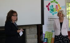 Carol Derbyshire and Deborah Sattler at the launch of the Windsor-Essex Compassion Care Community, June 7, 2017. (Photo by Maureen Revait)