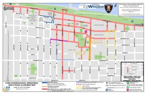 A map of all road closures and detours in downtown Windsor on fireworks night, June 26, 2017. (Photo courtesy the Windsor Police Service)