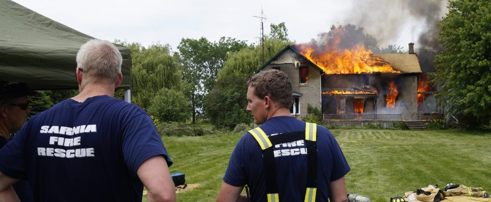The Sarnia Fire Rescue Service conducts live fire training at 2172 London Line. June 9, 2017 (Photo by Melanie Irwin)