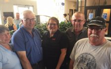 (From left to right) Agnes and George Dickenson, Ontario Federation of Agriculture; Member Service Representative for Lambton & Middlesex Joanne Fuller, Ron Forbes and Dan VanHuizen attended a special public input session on Sarnia Transit Service and Property Taxation. June 17, 2017 (Photo by Melanie Irwin)