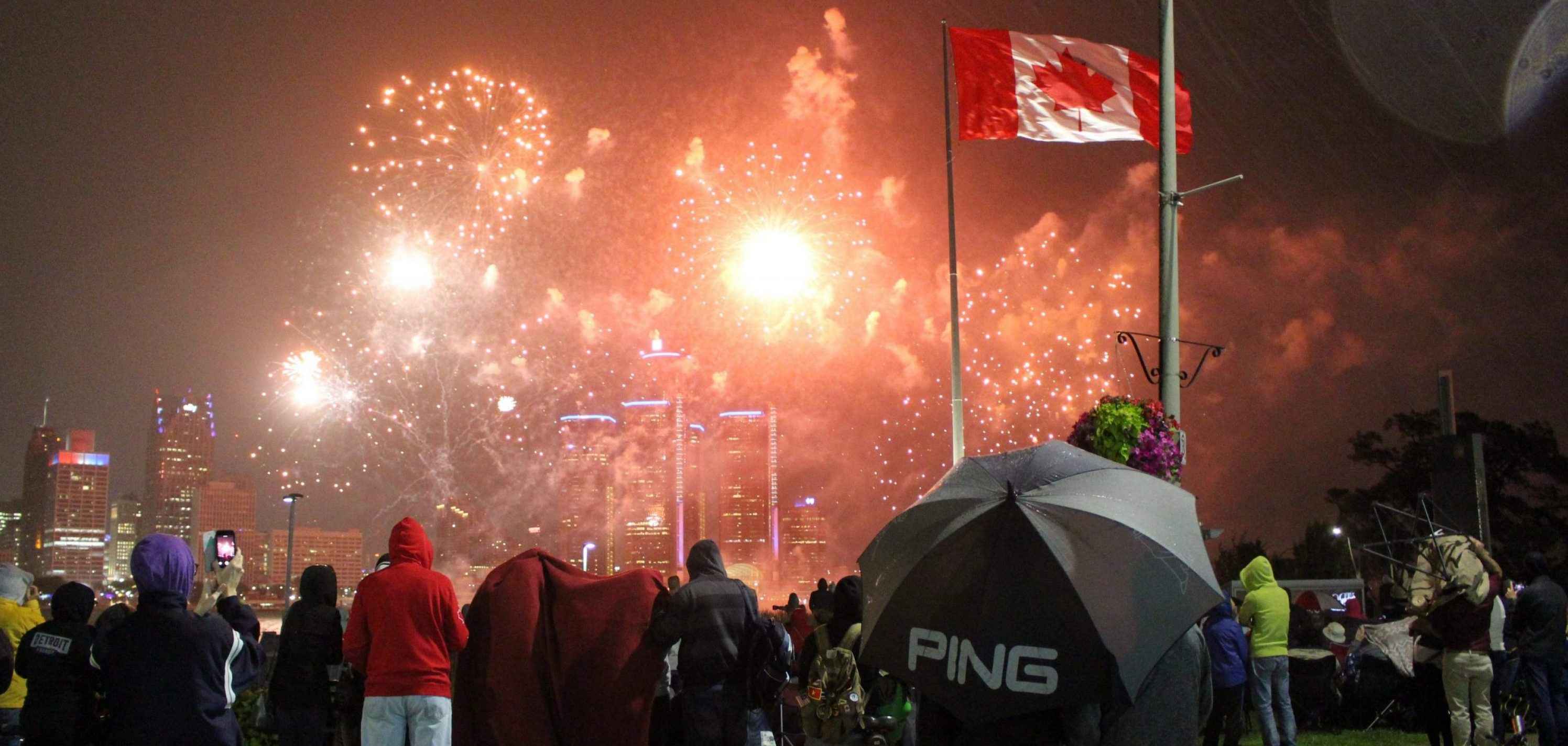 Fireworks Light Up The Sky Despite Rain