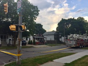 A section of Davis St near Brock in Sarnia is blocked off after a house fire on June 17, 2017 (Photo by Melanie Irwin/Blackburn News)