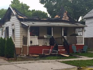 A fire-damaged home is seen on Davis St near Brock in Sarnia on June 17, 2017 (Photo by Melanie Irwin/Blackburn News)