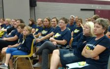Parents, students, staff and supporters of Gore Hill Public School in Leamington relax after the public school board votes to keep it open at its meeting on June 8, 2017 (Photo by Mark Brown/Blackburn News)