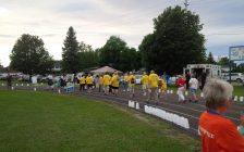Runners on the track at the 2017 Goderich Relay For Life. June 16th, 2017. (Photo by Bob Montgomery)