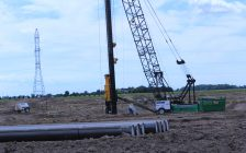 Pile driving has begun at the North Kent 1 wind turbine site on Darrell Line. June 21, 2017. (Photo by Paul Pedro)