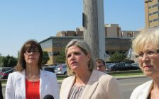 London family physician Dr. Sharad Rai, NDP MPP Teresa Armstrong, Ontario NDP Leader Andrea Horwath, and NDP MPP Peggy Sattler talk hospital wait times, June 12, 2017. (Photo by Miranda Chant, Blackburn News)