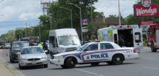 A pedestrian was hit by a vehicle on Oxford St., east of Richmond St., June 27, 2017. (Photo by Miranda Chant, Blackburn News)