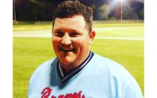 Keegan Brandon hits a walk off double to give the Sarnia Braves a 6-5 win over Strathroy. June 14, 2017 (Photo from Sarnia Braves facebook page)