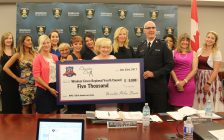 Charity Chix and Windsor police service present checks to charities, June 22, 2017. (Photo by Maureen Revait)
