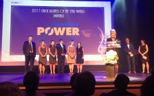 Bluewater Power is named large business of the year at Sarnia-Lambton Chamber of Commerce OBAA's June 16, 2017 (Photo courtesy of @SarniaRebound Twitter)