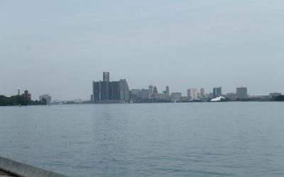 The Detroit skyline as seen from Reaume Park in Windsor. (Photo by Mark Brown)